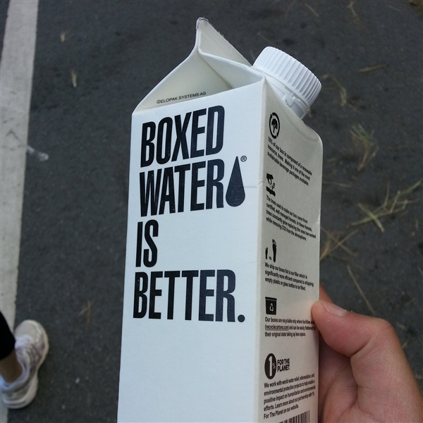 Boxing Water, Rather than Shipping in Plastic Bottles.
