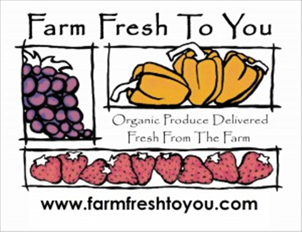 Farm Fresh To You logo, where you can find organic fruits and vegetables delivered to your door.
