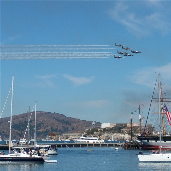 Fleet Week photo taken from my phone in front of Alcatraz Island.