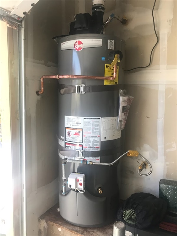 A power vented water heater is one that has a fan that blows out exhaust.