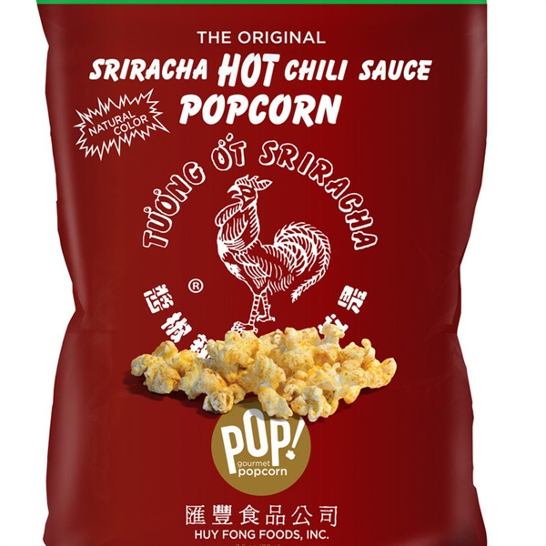 Sriracha Hot Chili Sauce Popcorn by Pop Gourmet Popcorn. Huy Fong Foods, Inc.