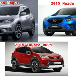 A comparison between the 2015 Mazda CX5, 2015 Nissan Rogue, and 2015 Toyota RAV4.