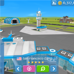 Aviation Empire in-game screenshot of San Francisco.