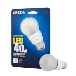 The CREE LED bulb replaces a 40 watts incandescent light bulb, but only uses 8.5 watts.