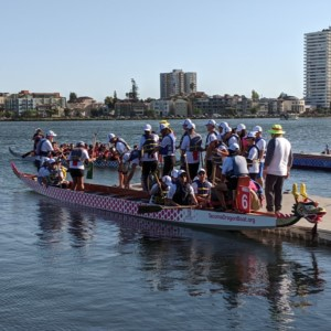 Dragon boat in Lake Merritt in Oakland, California
