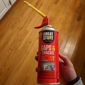 The new Great Stuff can of sealant that self stops to prevent messes and can be reused over 4 weeks later!