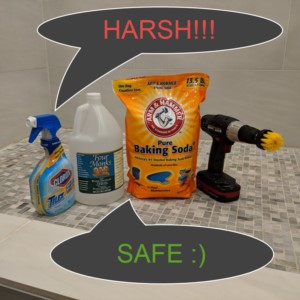 Should you use safe or harsh products for cleaning your shower tile and grout?
