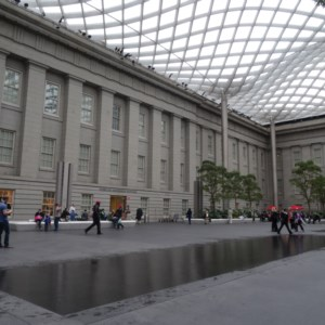 The courtyard inside the National Portrait Gallery in Washington DC.