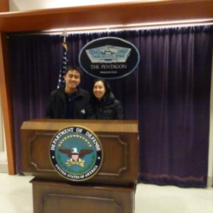 Taking a picture in the visitor area of the Pentagon. No other photos were permitted on the tour!