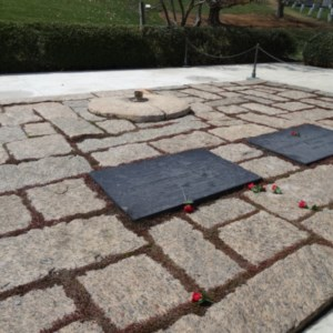 The are where the Kennedy's are buried, with an flame.