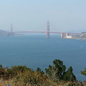 View of the  Golden Gate Bridge from Lands End in San Francisco.