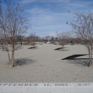 The actual Pengtagon 9/11 Memorial, where each bench-like structure is linked to one of the 184 lives that were lost.