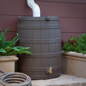 Rain Barrels are good for saving water by recycling rainwater runoff into non-potable water.