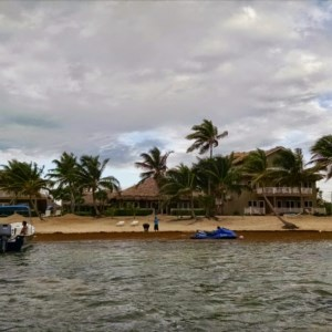 A view of the Sapphire Beach Resort from the dock as we are leaving!