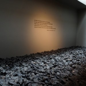 One of exhibits in the permanent gallery. These are shoes that are remains from one of the killing fields.