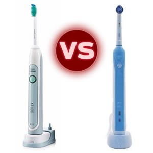 Philips Sonicare vs Braun Oral B electric toothbrush.