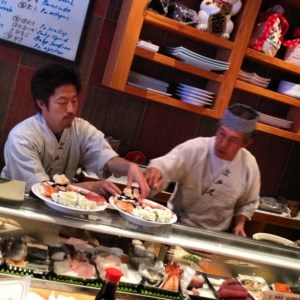 Sushi Sam's in San Mateo, CA. A very popular japanese restaurant with a wide selection of raw fish to choose from.