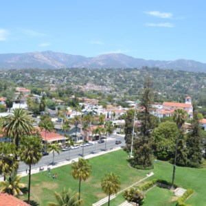 A view of Santa Barbara from above the city courthouse.