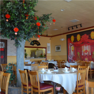 The decor inside of Yi Yuan in Millbrae, CA.