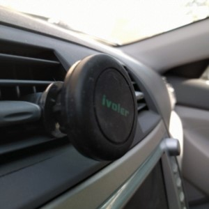 Car mount for smartphone. Connect via magents, swivel head, and air vents.